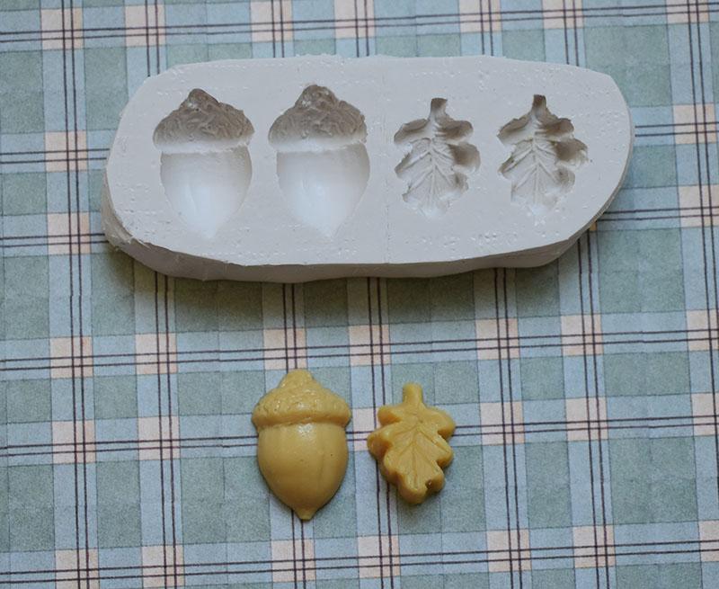 moule silicone gland et feuille de chêne